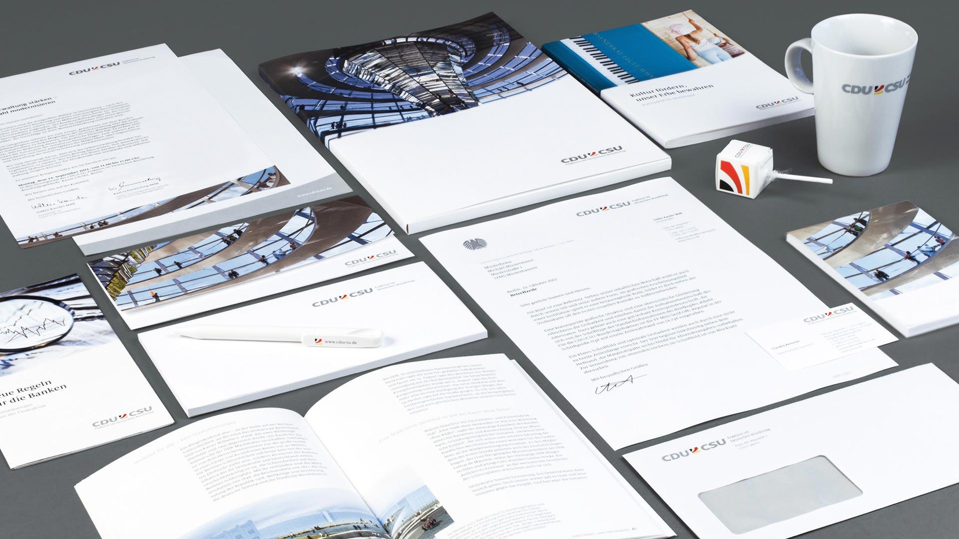 Drucksachen im neuen Corporate Design der CDU/CSU Bundestagsfraktion